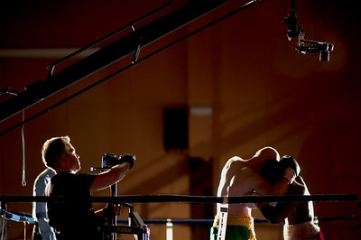 Director Shawn Welling filming a boxing scene.