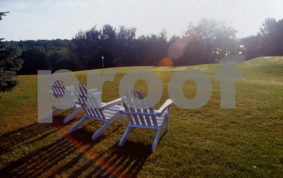 Adirondack Chairs on Golf Course, Leland Lake Lodge, Michigan.