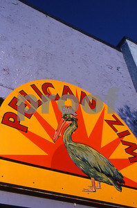 Pelican Zim storefront sign, Pentwater, Michigan.