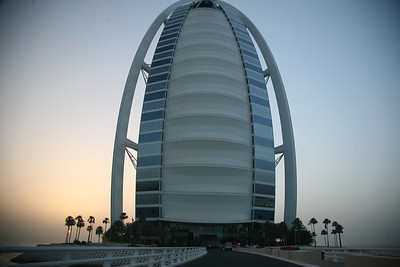 Driving up to the Burj al Arab