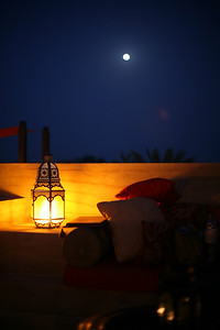 Full moon at the Bab Al Shams Desert Resort, Dubai, UAE
