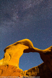 Look  closely this is a Self Portrait, LOL, Star Gazing. Metate Arch in The Devil's Garden with the Milky Way.