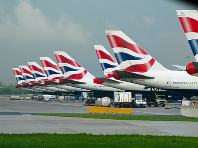 British Airways tails at the new Terminal 5 at London Heathrow Airport (LHR/EGLL)