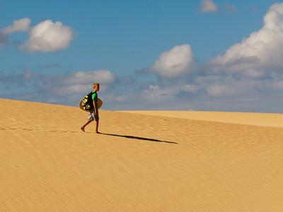 Walking in the desert Dunas de Corralejo of Fuerteventura (just taking a short cut back from the beach....)