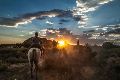 Sunset horseback ride. Sante Fe, New Mexico