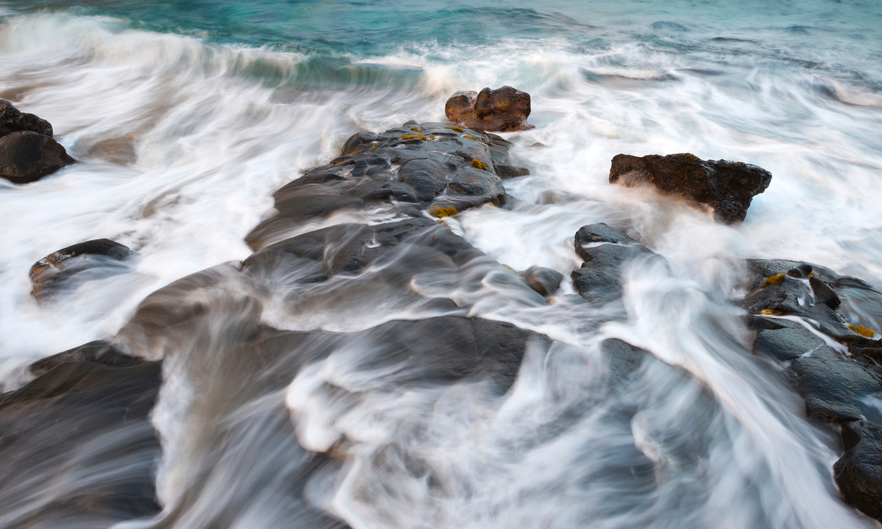 Surge, Kona Coast - Hawaii<br /> <br /> Holualoa Bay, a very small rocky cove right near the edge of Highway 11, is a wonderful place for sunrise wave action.