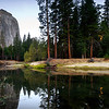 The Calm Merced, Yosemite - California<br /> <br /> A calm October morning near the Merced River in Yosemite Valley. El Capitan is just catching the sunrise, and Cathedral Spires waits in the shadows.