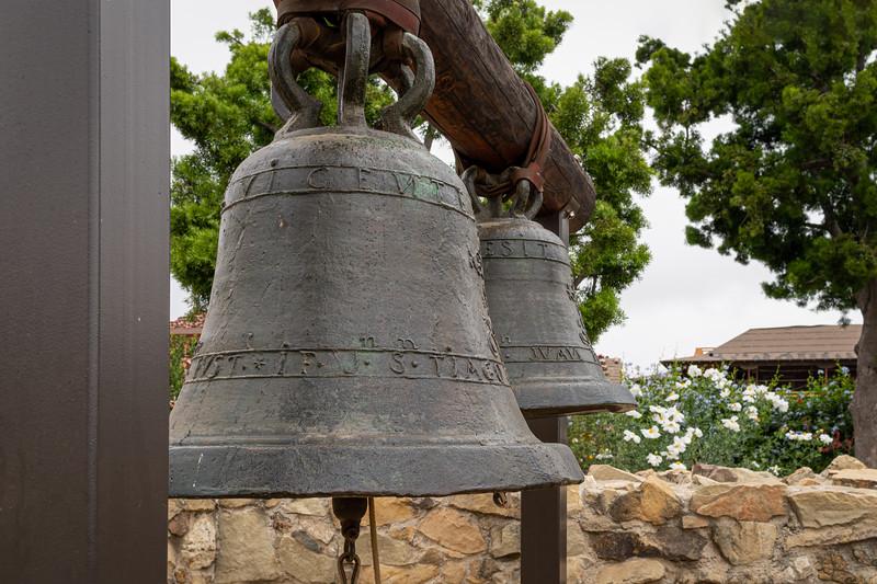 Damaged mission bells, San Vincente and San Juan