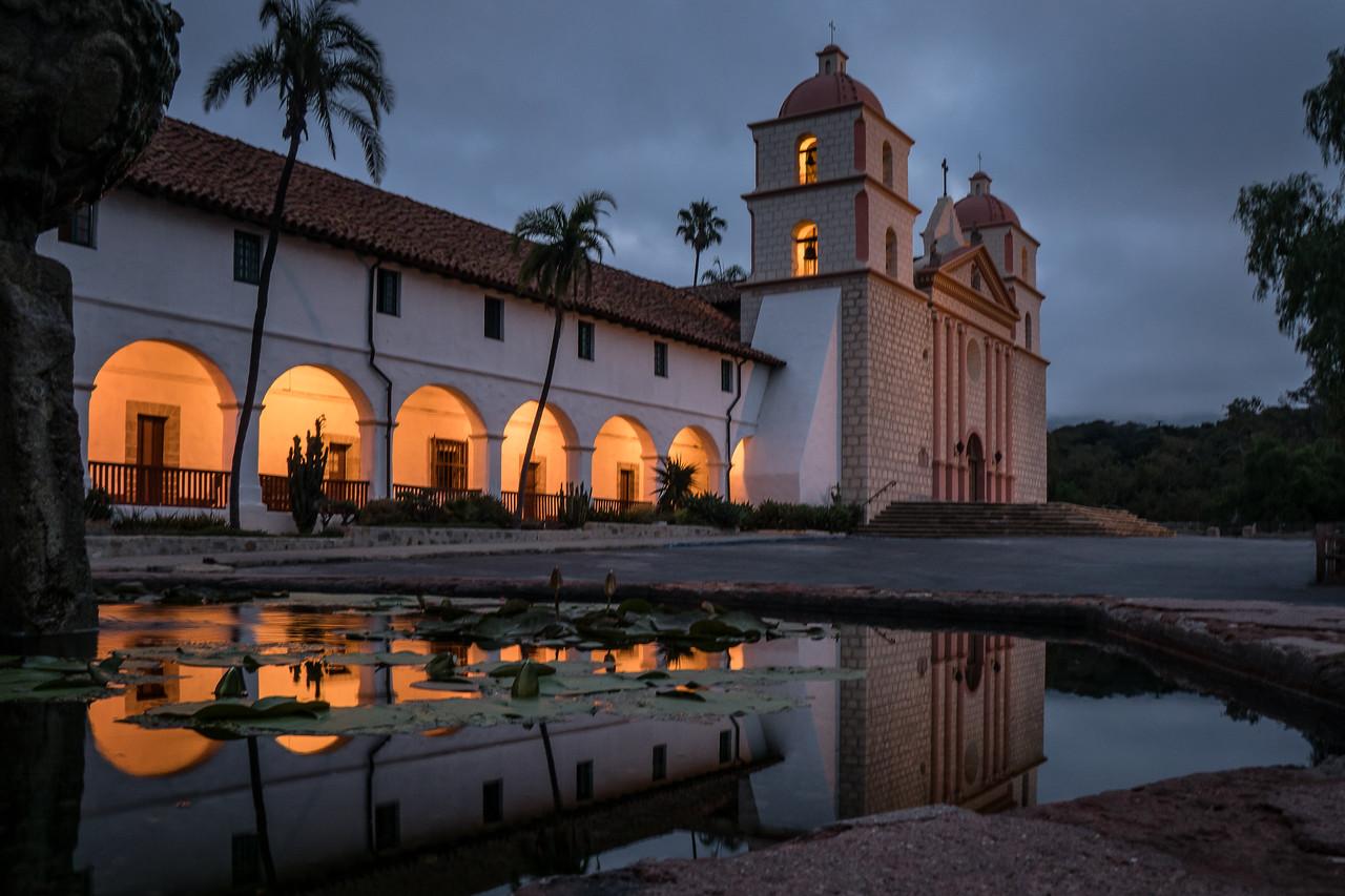 Mission Santa Barbara just before dawn