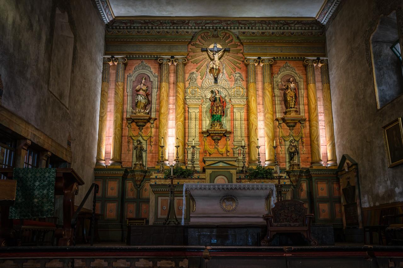 Inside the church at Mission Santa Barbara