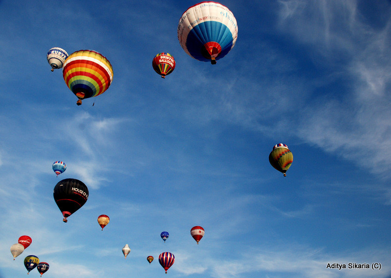 Title: Sky painted with Balloons<br /> Location: Bristol Balloon Festival