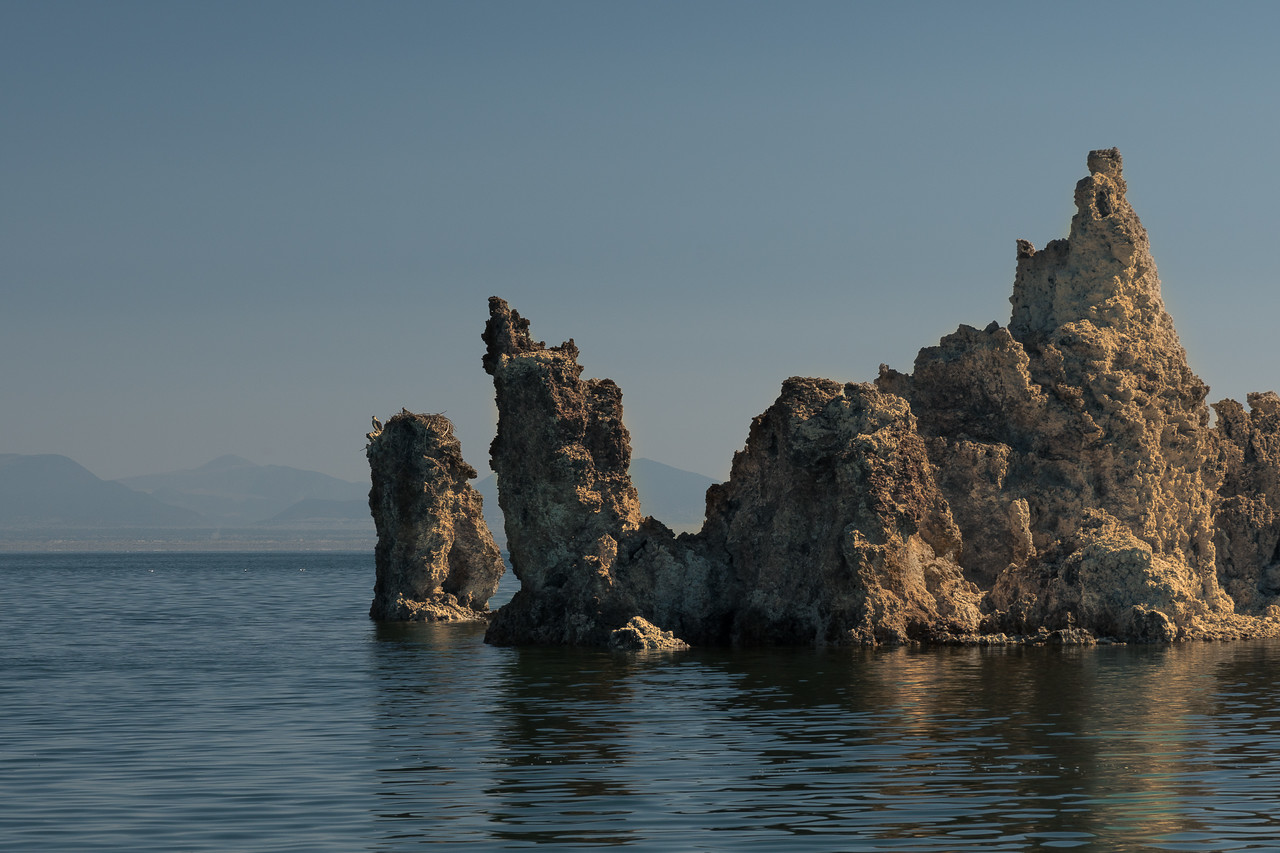 Osprey nest on a column of tufa in Mono Lake