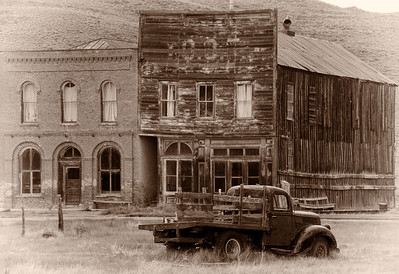 Bodie Odd Fellows Hall.   The old, abandoned truck, rests in front of the IOOF Hall, Bodie, Ca.