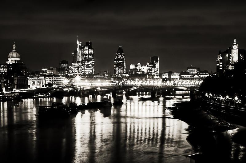 London Skyline at night - Black & White