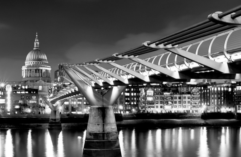 MIllenium Bridge and St Paul's at Nigh - Black & White