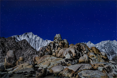Sierra Moonlight, Mt. Whitney and Lone Pine Peak, Alabama Hills, California