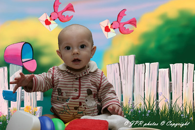 With small children and families it is sometimes easier and more comfortable for the babies and younger children to be photoed at home in a known environment, this is one such photo with a digital background dropped in.