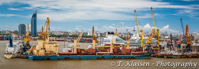 The port in Montevideo, Uruguay, South America.