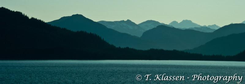 Layered mountains of Glacier Bay, Alaska, USA.