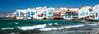 Little Venice along the coast of Mykonos town, Chora, Mykonos, Greece, Europe.