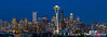 The city skyline and downtown Seattle at dusk from Kerry Park, Seattle, Washington, USA.