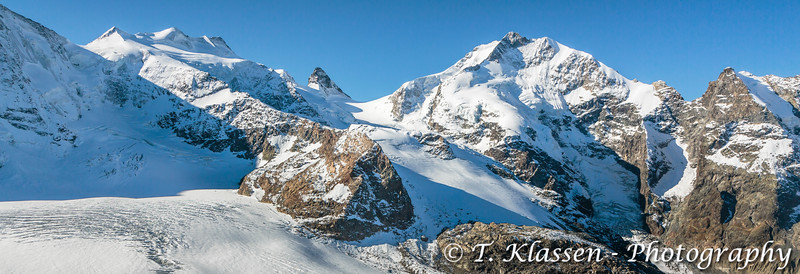 The Bernina mountain peaks and the Diavolezza Glacier near St. Moritz, Switzerland, Europe.
