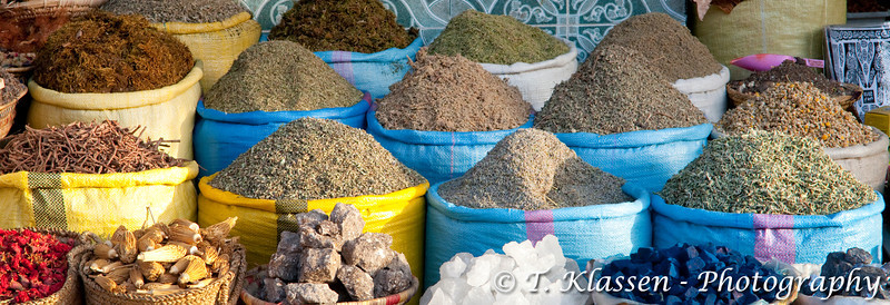The souqs of the medina selling grains and produce in old town Marrakesh, Morocco.