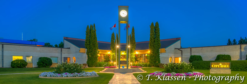 A night view of City Hall in Winkler, Manitoba, Canada.