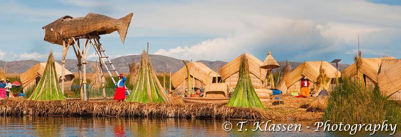 The floating Islands in Lake Titicaca, Peru, South America.