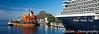 A Holland America cruiseship and a cargo ship in the port of Mazatlan, Mexico.