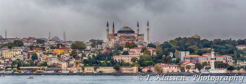 The Hagia Sophia Museum and the Istanbul city skyline, Turkey, Eurasia.
