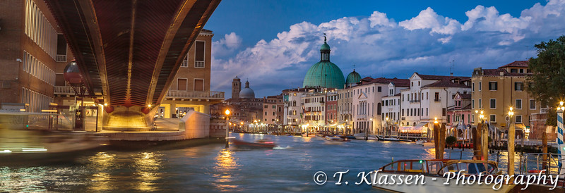 The Grand Canal at Piazzale Roma at night in Veneto, Venice, Italy, Europe.