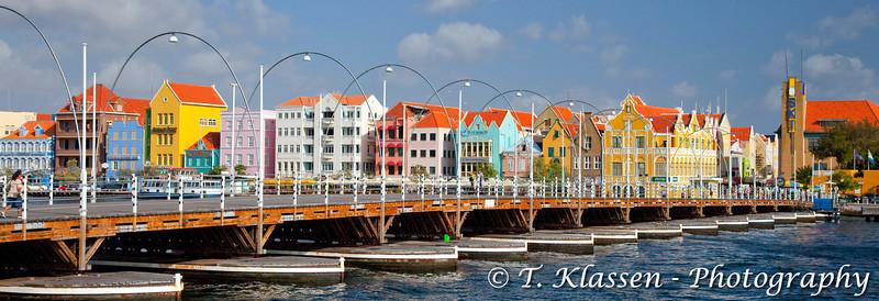The floating bridge in Willemstad, Curacao, Netherlands Antilles.