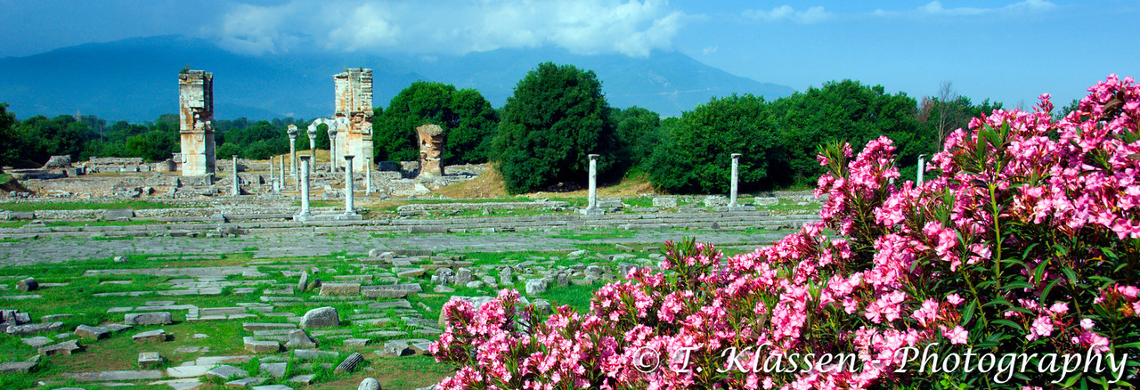 The entrance to Basilica B with flowers in the ruins of Phillipi, Greece.