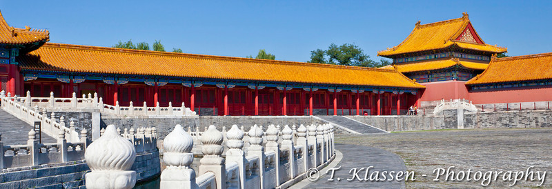 An inner courtyard with Chinese architecture in the Forbidden City, Beijing, China, Asia.
