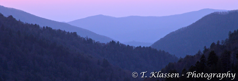 Layered mountains after sunset in the Great Smoky Mountains National Park, Tennessee, USA, America.