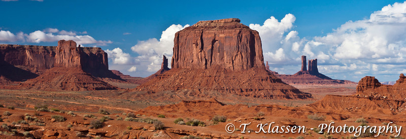 Monument Valley with its buttes, spires  and canyons in Utah, USA, America.