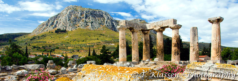The Acropolis of Acrocorinth overlooking the ruins of the ancient city of Corinth, Greece.
