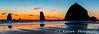 The Canon Beach haystacks at sunset on the Oregon coast, USA.