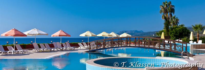 The pool area of the Best Resort Hotel in Tasucu, Turkey, Eurasia.