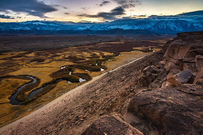 Owens River Floodplain At Sunset - Bishop - California