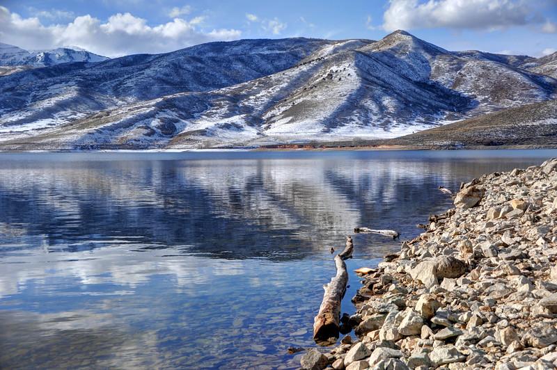 Wasatch Range Foothills Reflected In Deer Creek Reservoir