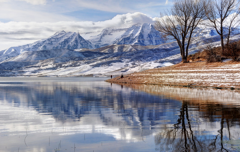 Hardy Fishermen Deer Creek Reservoir And Timpanogos In Winter