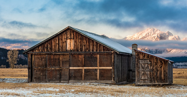 Moulton Barn in winter