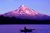 ~Evening bite~<br /> <br />  I noticed this fisherman quite a ways down the lake.  I waited until he rowed into position with Mount Hood centered above him  and shot one frame.