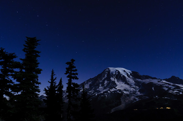 The Big Dipper over Mt. Rainier and Paradise Lodge