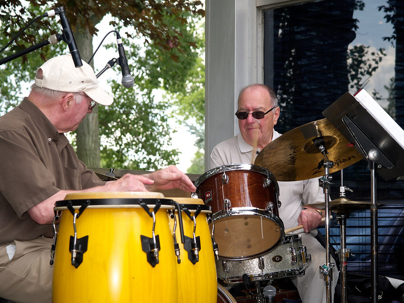 Drummer Johnny Bond and percussionist Bob Hughes lay down the rhythm for the group.