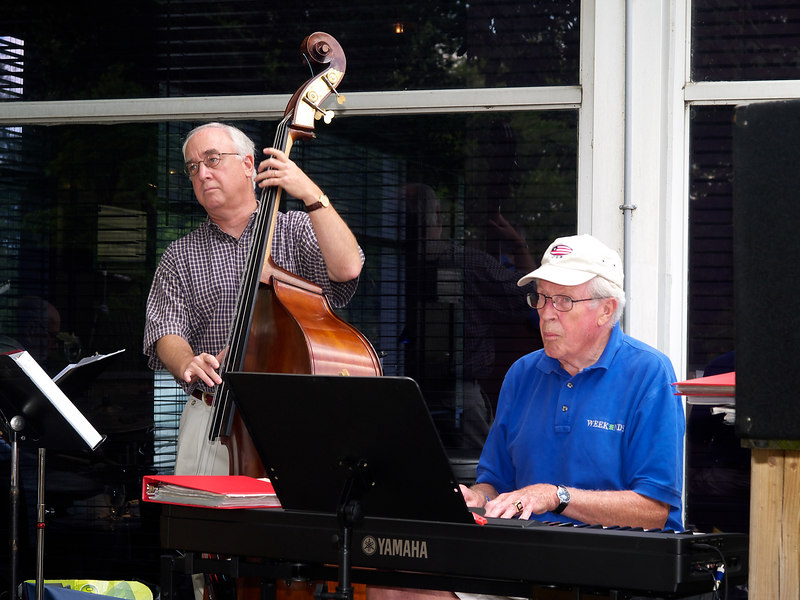 Jimmy Stiel on bass and Doug Krieger on the piano back up Dr. George DelGrosso for the opening group.