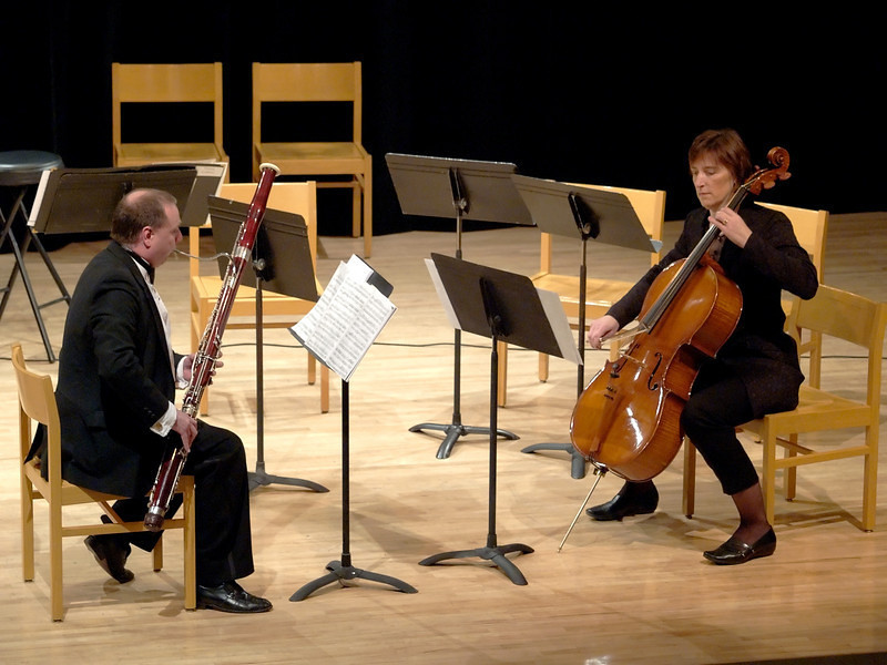 Bassoonist Richard Lloyd and cellist Barbara Armstrong perform Mozart's Sonata in B-Flat Major for bassoon and cello.