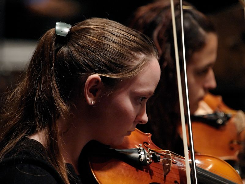 A young violinist bears down in the performance.
